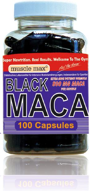 black maca caps 800 von muscle man 100 kapseln dose. Black Bedroom Furniture Sets. Home Design Ideas